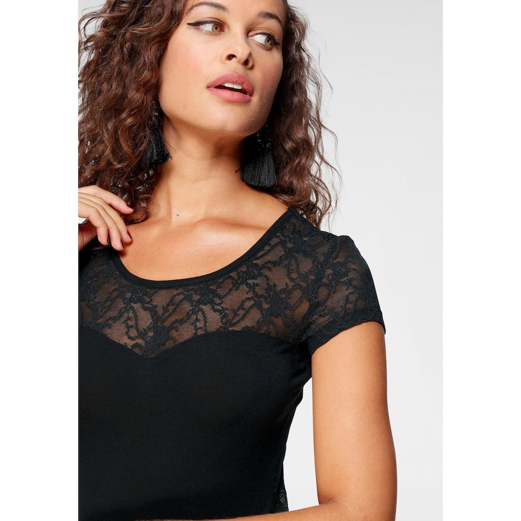 Melrose Rundhalsshirt, mit Spitze und transparentem Spitzenrücken