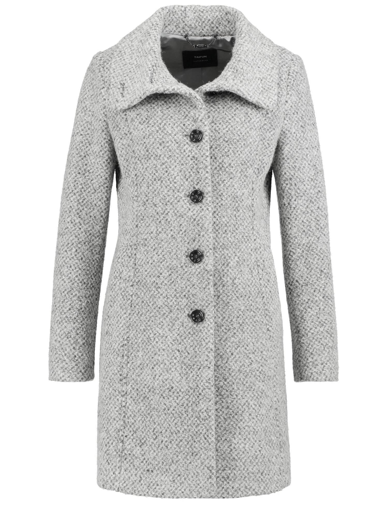 Taifun Outdoorjacke Wolle Taillierter Kurzmantel aus Tweed | Sportbekleidung > Sportmäntel > Outdoormäntel | Grau | Wolle - Tweed - Polyester | Taifun