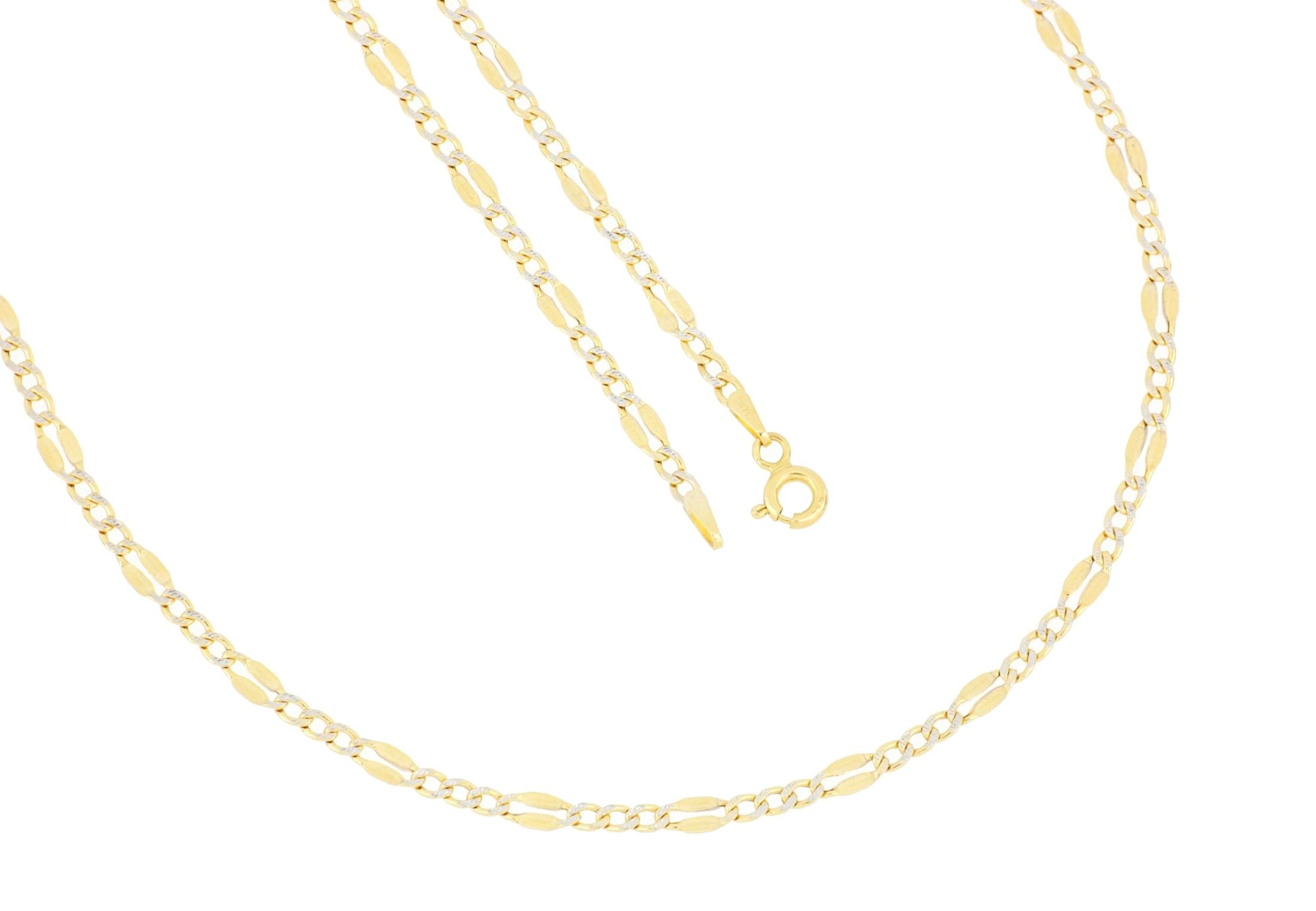 la piora -  Collierkettchen Figarokette, mit Diamantschnitten in weiss, 585/- Gelbgold