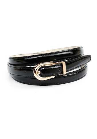 Anthoni Crown Ledergürtel, Schmaler Lackledergürtel, ovale Schließe kaufen