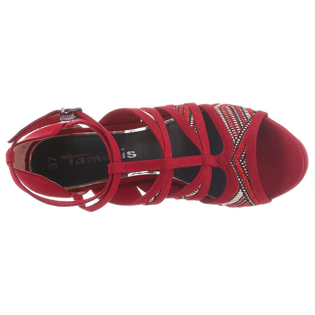 Tamaris High-Heel-Sandalette »Myggia«, mit trendiger Ethno-Stickerei