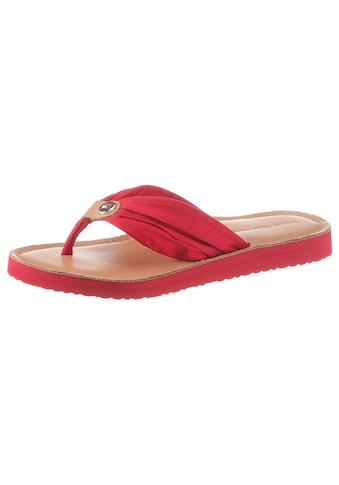 TOMMY HILFIGER Zehentrenner »LEATHER FOOTBED BEACH SANDAL« kaufen