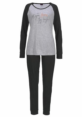 Arizona Pyjama, mit kontrastfarbenen Ärmeln und Schrift Print kaufen