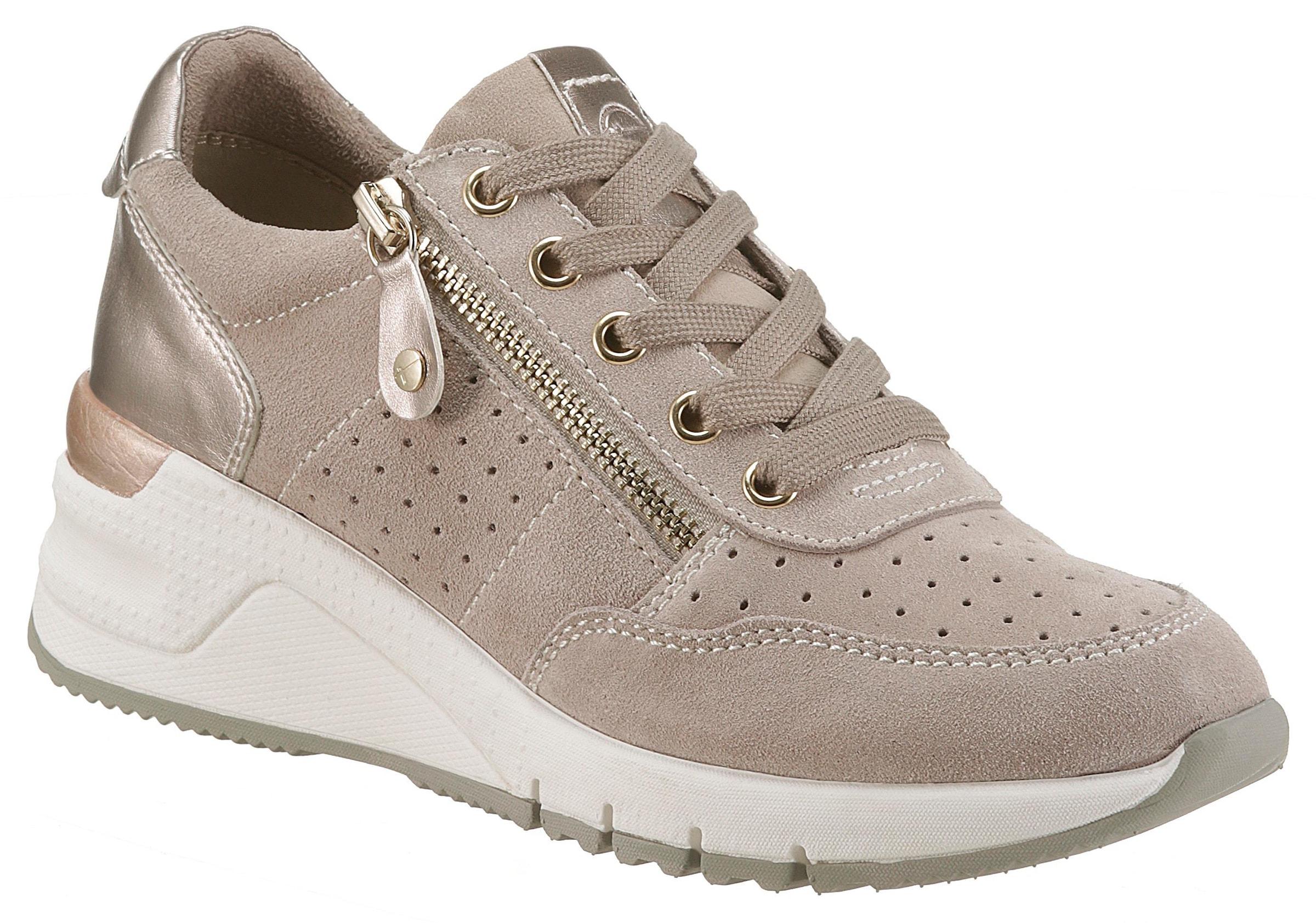 TAMARIS FASHLETICS DAMEN Sneaker Halbschuhe Schnürschuhe Freizeit Schuhe taupe