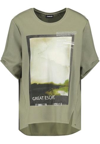 Taifun Rundhalsshirt, mit Frontprint und Bluseneinsatz im Rücken kaufen
