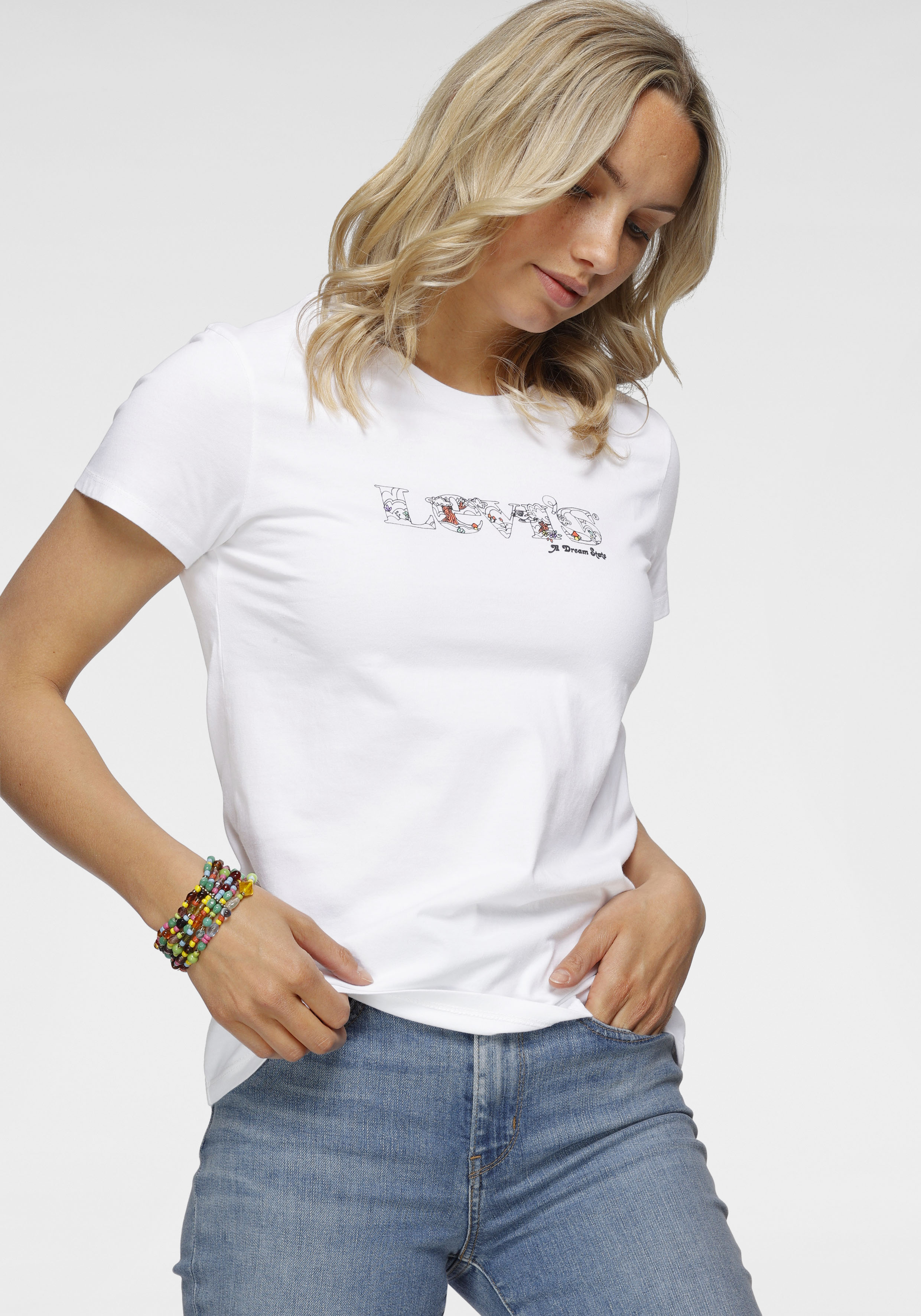levis - Levi's T-Shirt The Perfect Tee Pride Edition, mit floralem Markenschriftzug