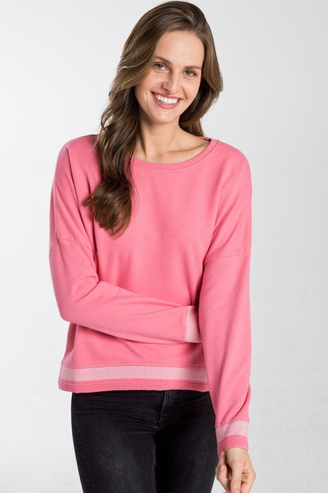 shirts for life -  Pullover mit Streifen am Saum