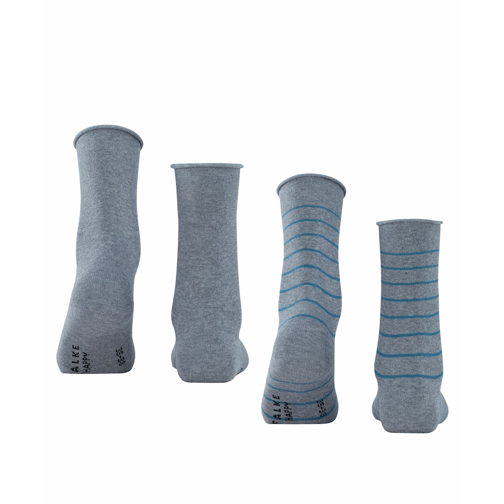 FALKE Socken »Happy Stripe 2-Pack«, (2 Paar), Baumwollstrumpf für jedes Outfit