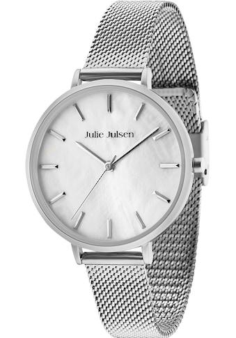 Julie Julsen Quarzuhr »PEARL SET, JJW40 - SET1« (Set, 3 tlg., Lederwechselband mit Blumenapplikationen und Silberarmband mit rosa Nylonband) kaufen