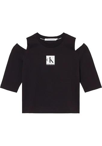 Calvin Klein Jeans T-Shirt »COLD SHOULDERS BOX LOGO TEE«, mit Cut-outs an den Schultern & Calvin Klein Logo-Schriftzug kaufen
