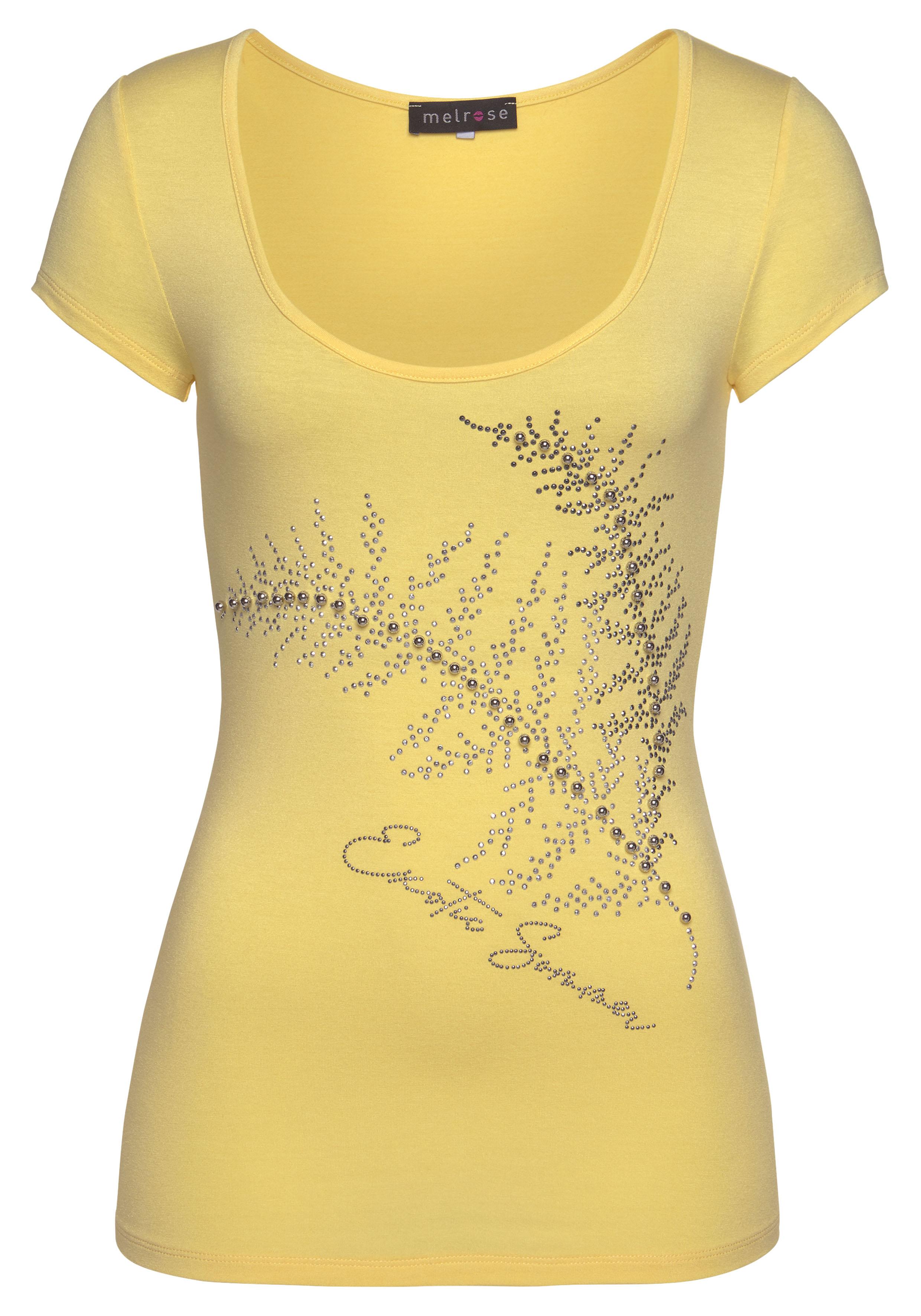 melrose -  Rundhalsshirt, mit Perlen und Glitzersteinen