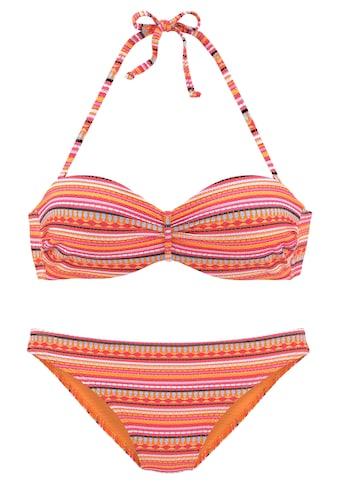 LASCANA Bügel-Bandeau-Bikini, mit glitzernden Streifen kaufen