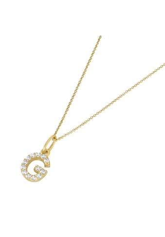 Luigi Merano Herzkette »Anhänger Buchstabe G mit Zirkonia, Gold 375« kaufen