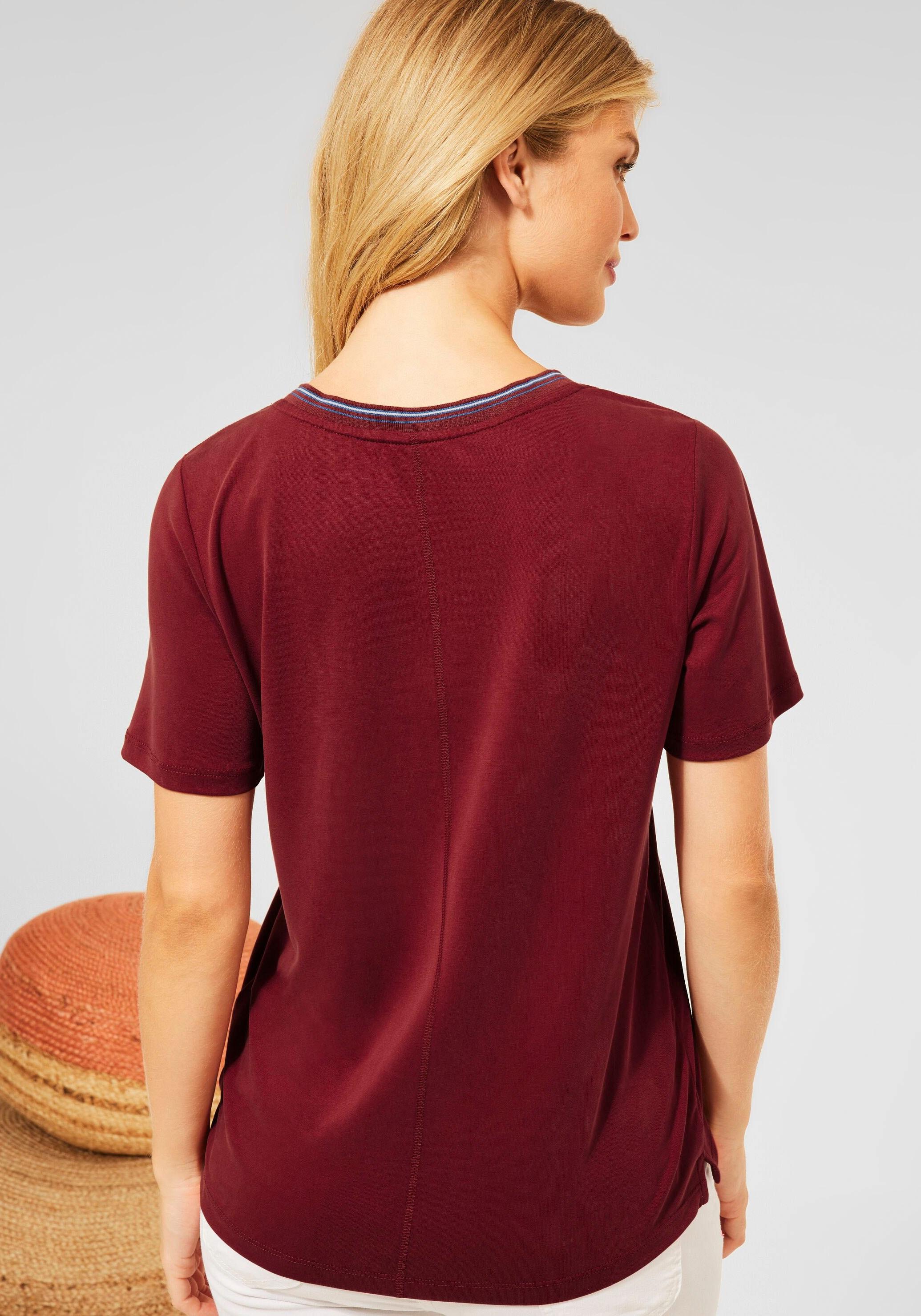 cecil -  V-Shirt, mit Kontrastbesatz am Ausschnitt